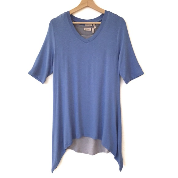 NEW Logo Lagenlook Layered Blue Gray Tunic Set M